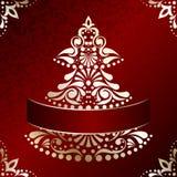 Elegant Christmas card with Christmas tree Stock Photography