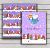 Elegant Christmas card with an envelope. Christmas angel scatters snow over the city Royalty Free Stock Images