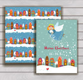Elegant Christmas card with an envelope. Christmas angel scatters snow over the city Royalty Free Stock Photography