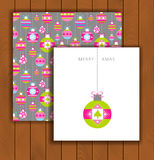 Elegant Christmas card with an envelope. Stylish decorative Christmas balls Stock Image