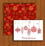 Elegant Christmas card with an envelope. Stylish decorative Christmas balls Stock Photo