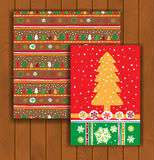 Elegant Christmas card with an envelope. Stylish gold pine trees Stock Photo
