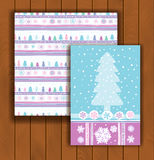 Elegant Christmas card with an envelope. Stylish pine trees Stock Images