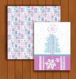 Elegant Christmas card with an envelope. Stylish pine trees Stock Photo