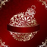 Elegant Christmas card with filigree ornament. Red and gold Christmas illustration with intricately designed Christmas ornament. Graphics are grouped and in vector illustration