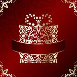 Elegant Christmas card with filigree present Royalty Free Stock Images