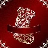 Elegant Christmas card with filigree stocking Royalty Free Stock Photo