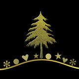 Elegant Christmas card in gold and black Royalty Free Stock Image