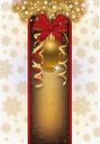 Elegant Christmas card with golden ball Stock Photos