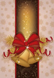 Elegant Christmas card with golden bells. Vector illustration Royalty Free Stock Photo