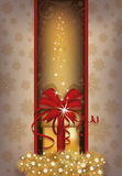 Elegant Christmas card with golden gift box. Vector illustration Stock Photos