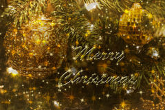 Elegant Christmas card in greens and golds Stock Photo