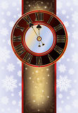 Elegant Christmas card with New Year clock. Vector Stock Image