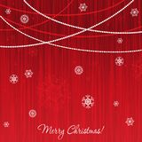 Elegant christmas card. With pattern and snowflakes on red background Stock Photography