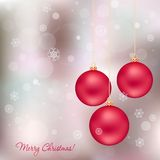 Elegant christmas card. With red christmas balls and snowflakes Stock Photo