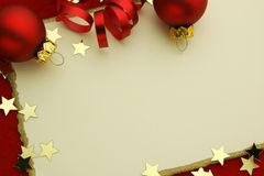 Elegant Christmas Card. With stars and decoration in red and gold colors Stock Photos