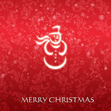 Elegant Christmas card with a symbolic snowman. On a vintage red background Stock Photos