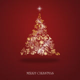 Elegant Christmas card with a symbolic tree. On a red background Royalty Free Stock Images