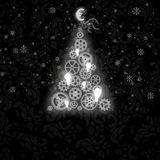 Elegant Christmas card with a symbolic tree stock images