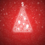 Elegant Christmas card with a symbolic tree. On a vintage background Stock Image