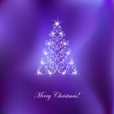 Elegant christmas card. With Christmas-tree and  flame Royalty Free Stock Photo