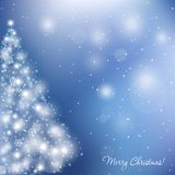 Elegant christmas card. With Christmas-tree and  flame Stock Images