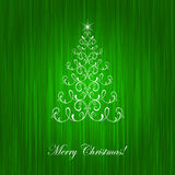 Elegant christmas card. With Christmas-tree and  flame Royalty Free Stock Images