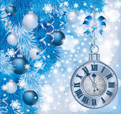 Elegant Christmas clock. Vector illustration Stock Image