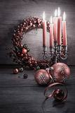 Elegant Christmas decorations on wood, text space Stock Image
