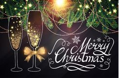 Elegant Christmas Design Template with Lettering, Champagne Glasses, Bottle of Wine, Fir Tree Branches, Gold Effects. Happy New 2018 Year and Christmas Design Royalty Free Stock Image