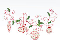 Elegant christmas flourish and baubles Royalty Free Stock Image