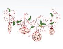 Elegant christmas flourish and baubles. Christmas baubles hanging from elegant flourishes royalty free illustration