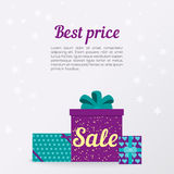 Elegant Christmas Gift box with bow. flat design. Stock Photo