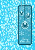 Elegant Christmas greeting card in blue Royalty Free Stock Photography