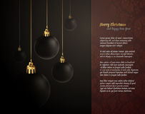 Elegant Christmas Greeting with Dark Globes Royalty Free Stock Photo