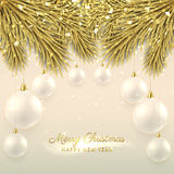 Elegant Christmas illustration with glass balls. Elegant vector background with fir-tree branches. Happy New Year banner with golden confetti and shining lights royalty free illustration