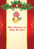 Elegant Christmas and New Year greeting card. With space for your own text. Contains wrapping, holly berries, ribbon, Christmas baubles. Print colors used. Size vector illustration