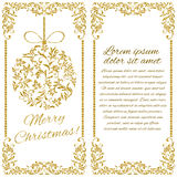 Elegant Christmas postcard: Ball with gold glitter. From a floral ornament. There is a place for text Royalty Free Stock Photography