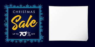 Elegant Christmas sale up to 70% off lettering blue poster. Christmas sale design template with text up to 70% off in snowflakes frame on navy blue background Stock Photos
