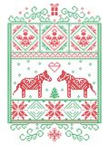 Elegant Christmas Scandinavian, Nordic style winter cross stitch pattern including snowflake, heart, Dala horse, Christmas tree royalty free illustration