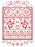 Elegant Christmas Scandinavian, Nordic style winter stitching, pattern including Angel, snowflakes, heart, gift, star, Christmas. Tree, snow and decorative vector illustration