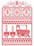Elegant Christmas Scandinavian, Nordic style winter stitching, pattern including snowflake, heart, gravy train, Christmas trees Stock Images