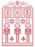 Elegant Christmas Scandinavian, Nordic style winter stitching, pattern including snowflake, heart, nutcracker soldier, Christmas. Tree, Christmas present, snow Royalty Free Stock Images