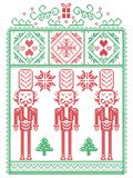 Elegant Christmas Scandinavian, Nordic style winter stitching, pattern including snowflake, heart, nutcracker soldier. Christmas tree, Christmas present, snow Stock Photography