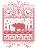 Elegant Christmas Scandinavian, Nordic style winter stitching, pattern including snowflake, heart, polar bear, Christmas tree. Gift, snow, robin, snowflake Royalty Free Stock Photos