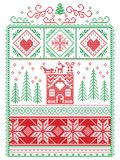 Elegant Christmas Scandinavian, Nordic style winter stitching, pattern including snowflake, heart, reindeer, sleigh, gingerbread h. Ouse, Christmas tree, gift Royalty Free Stock Photography