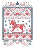 Elegant Christmas Scandinavian, Nordic style winter stitching, pattern including snowflake, heart, rocking horse, Christmas tree,. Christmas present snow in red Royalty Free Stock Images