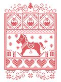 Elegant Christmas Scandinavian, Nordic style winter stitching, pattern including snowflake, heart, rocking horse, Christmas tree,. Christmas present snow in red Royalty Free Stock Photo
