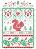 Elegant Christmas Scandinavian, Nordic style winter stitching, pattern including snowflake, heart, squirrel, acorn, oak leaf Stock Photos