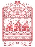 Elegant Christmas Scandinavian, Nordic style winter stitching, pattern including snowflake, heart,  Swedish gingerbread house Stock Images